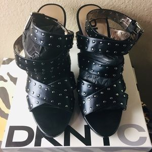 DKNY black silver studded heeled sandals size 9